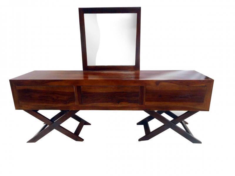 Solid Wood Vanity Table w/ Mirror