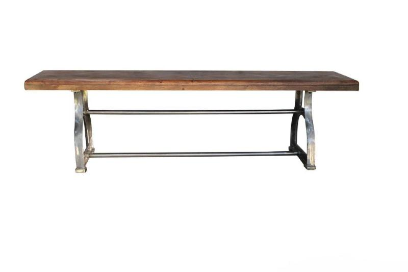 Solid Wood Bench w Iron Base