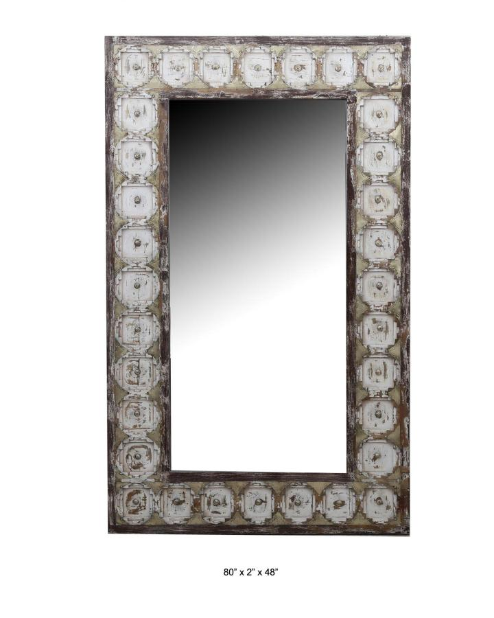 WOODEN MIRROR FRAME WITH BRASS AND GLASS