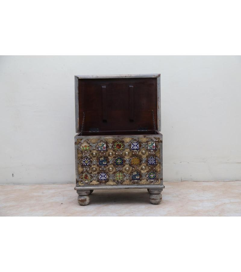 WOODEN BAKHRA BOX WITH BRASS AND TILES