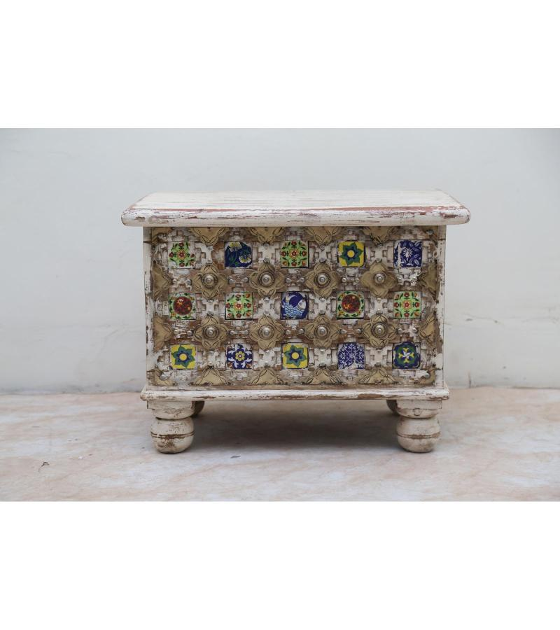WOODEN BAKHRA BOX WITH BRASS AND TILE