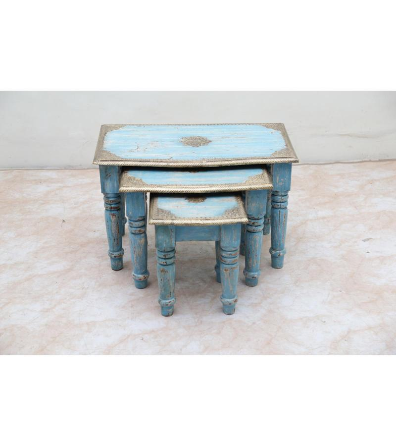 WOODEN STOOL SET OF 3 WITH BRASS