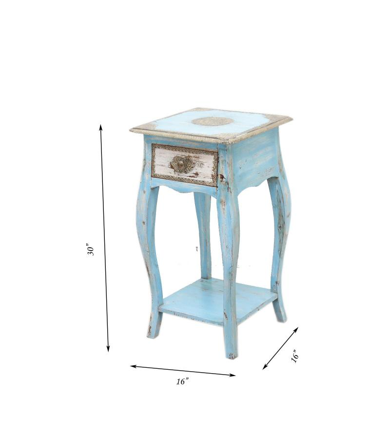 WOODEN STOOL WITH BRASS