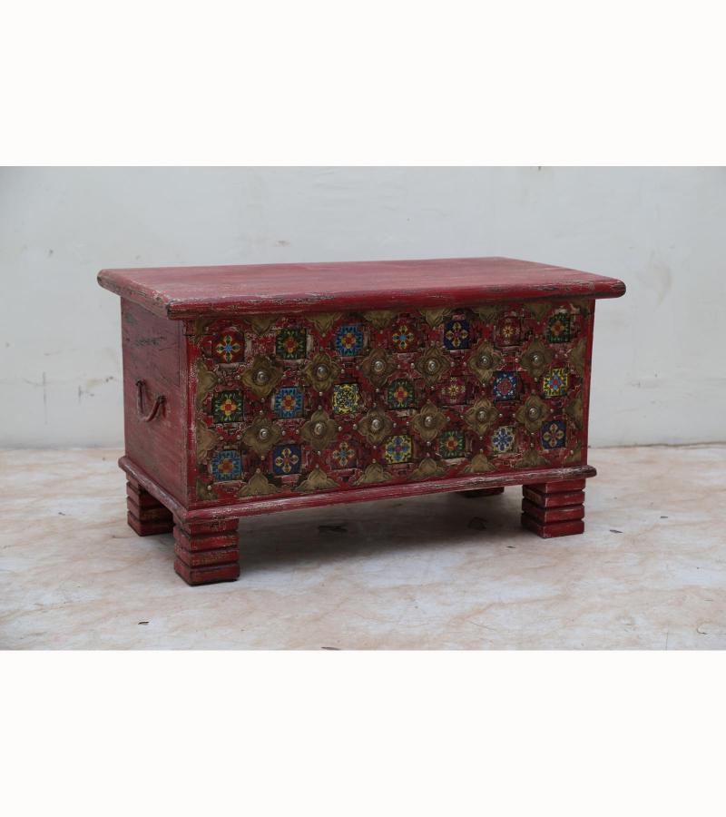 WOODEN BOX WITH BRASS & TILES
