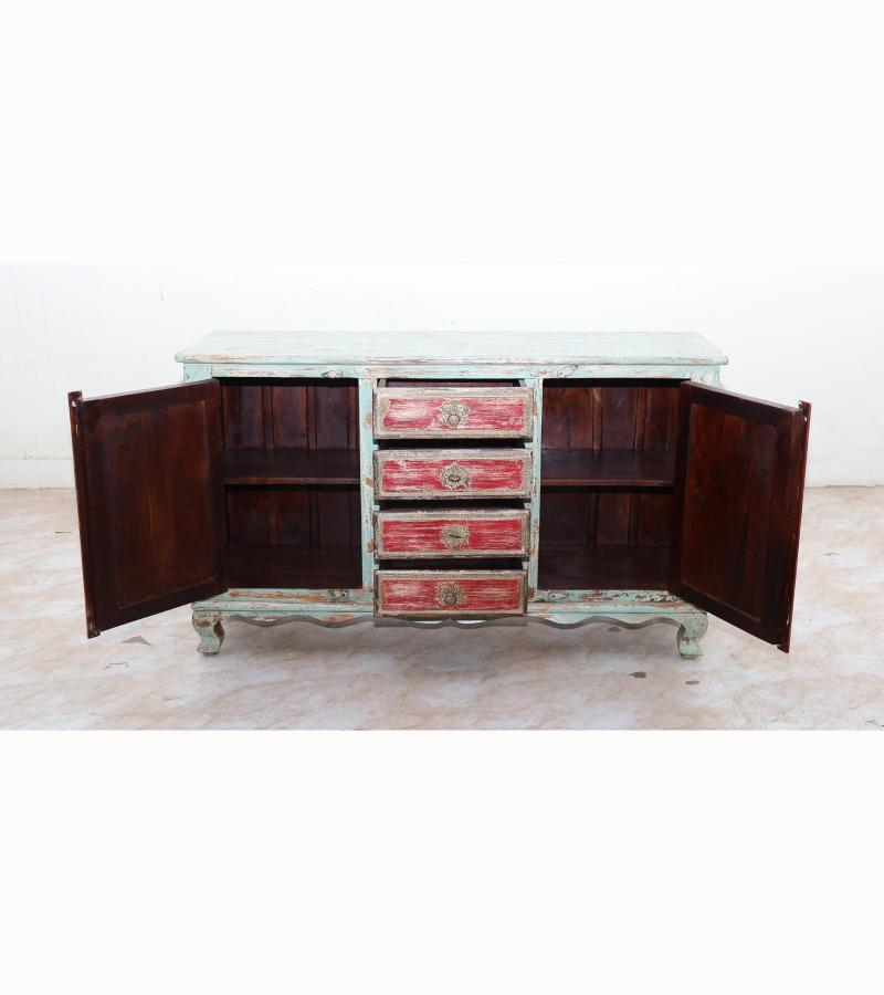 WOODEN 4/2 DRW SIDE BOARD WITH BRASS