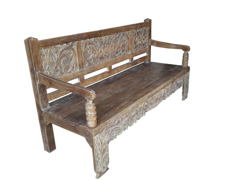 WOODEN CARVED BENCH