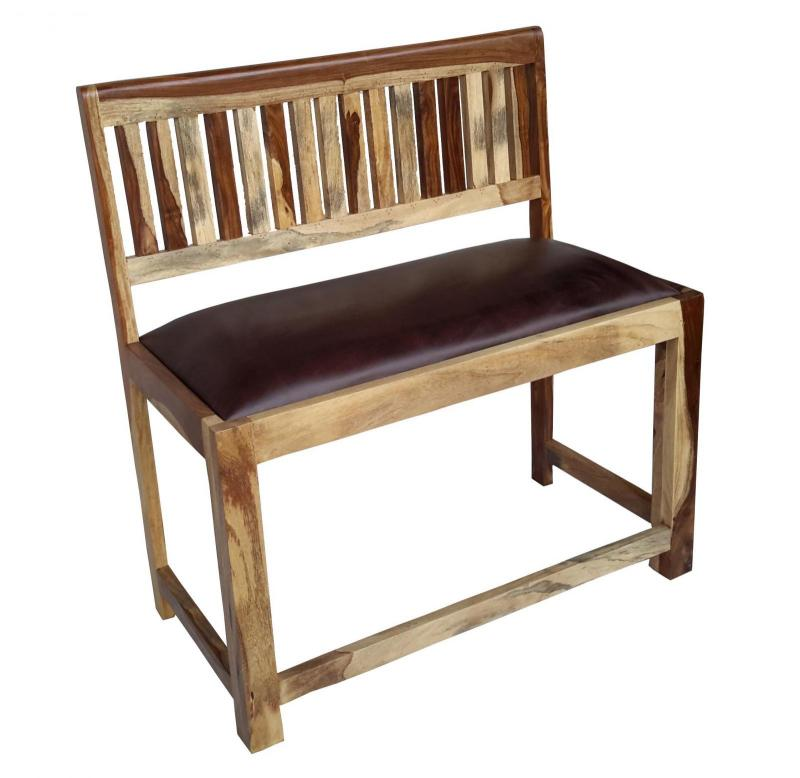 WOODEN LEATHER BENCH