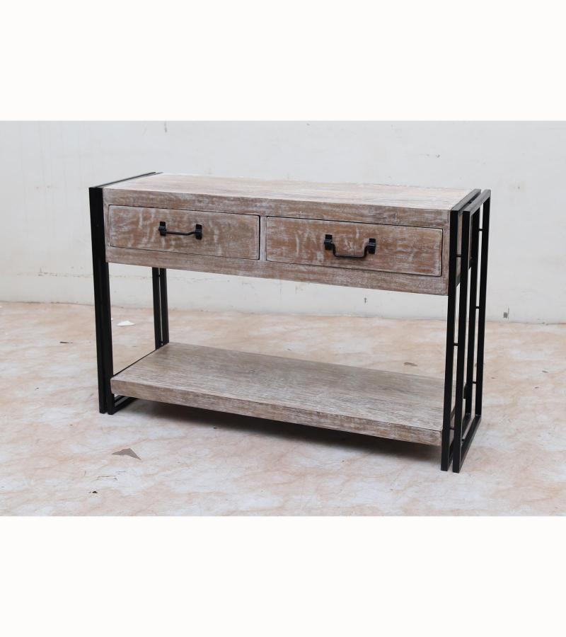 WOODEN IRON CONSOLE TABLE