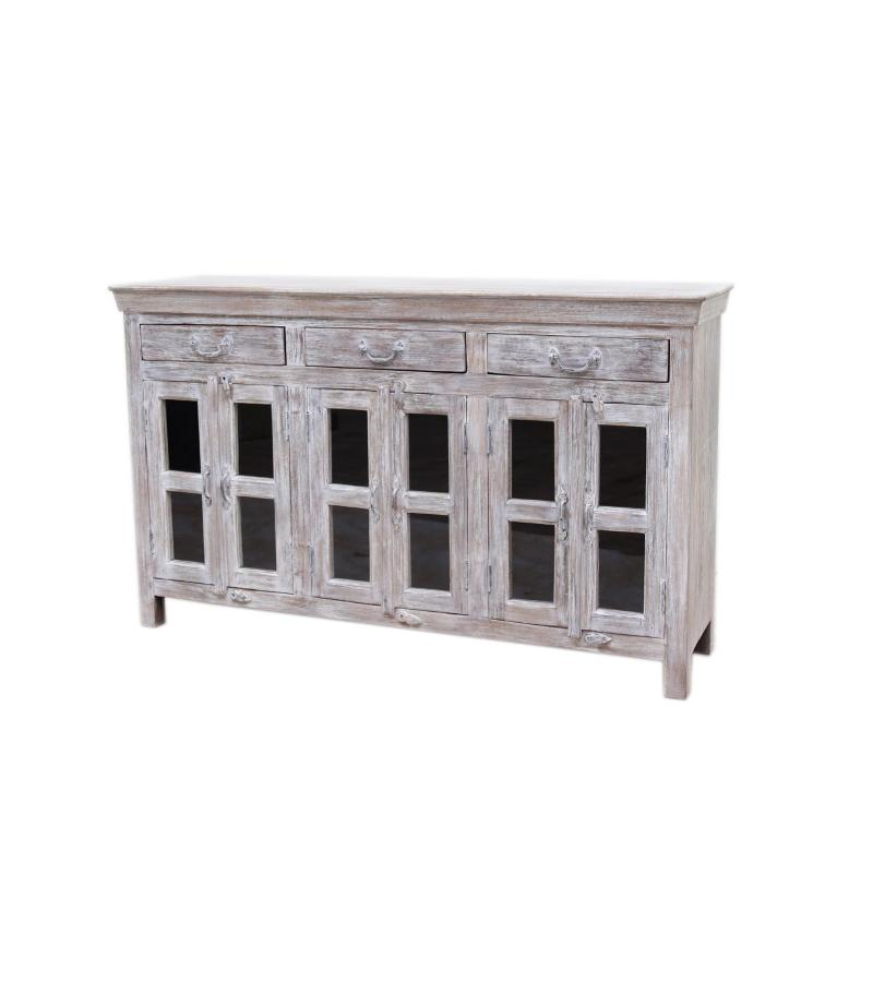 WOODEN 3/6 DRW SIDE BOARD WITH GLASS