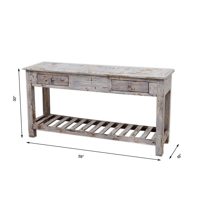 WOODEN 2 DRW CONSOLE TABLE