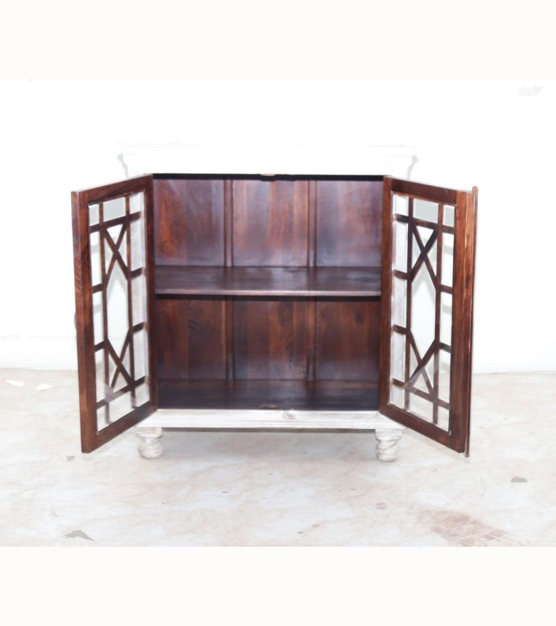 WOODEN 2 DOOR SIDE BOARD WITH GLASS