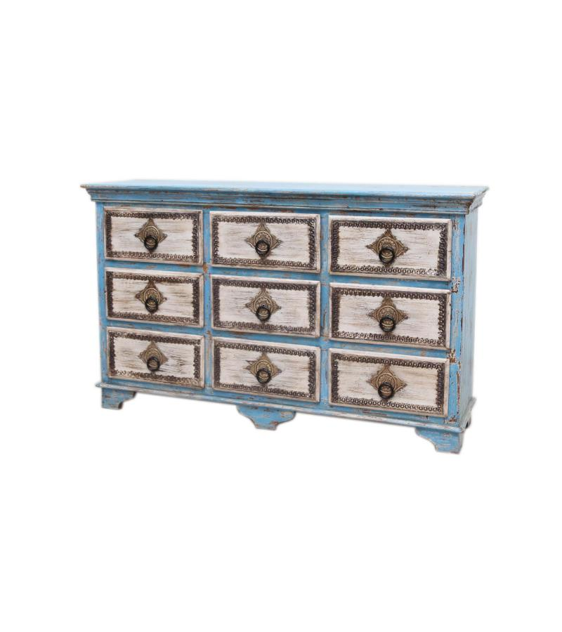 WOODEN 9 DRW CHEST WITH BRASS