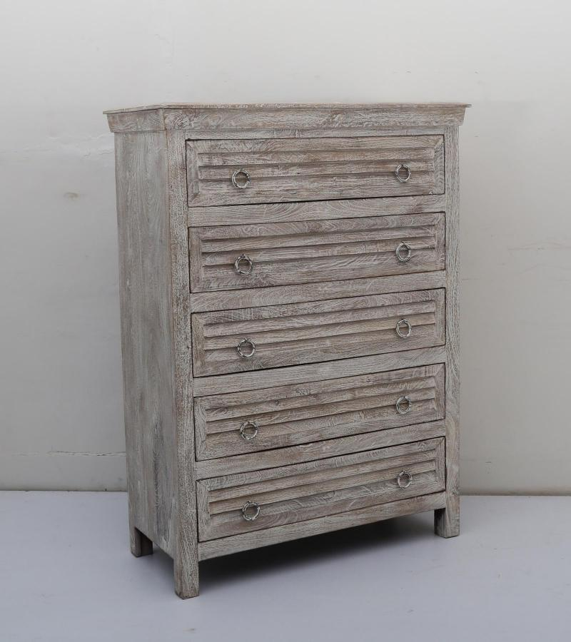 WOODEN 5 DRW CHEST