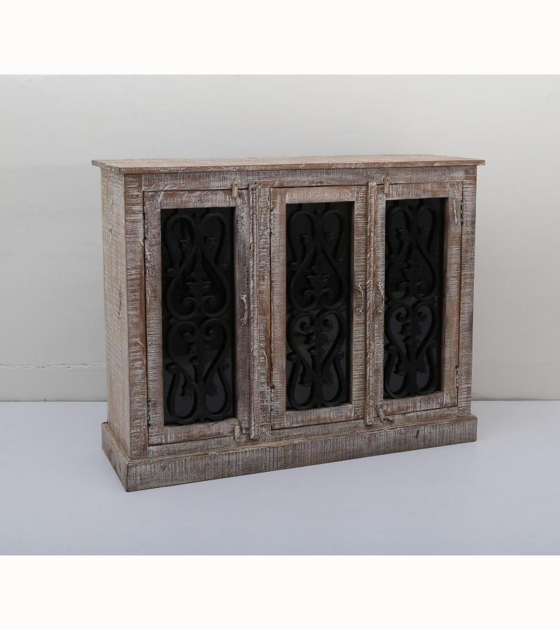 WOODEN 3 DOOR SIDE BOARD WITH IRON GLASS