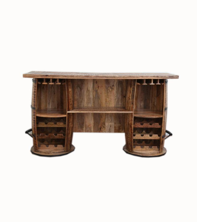 WOODEN BAR COUNTER WITH IRON
