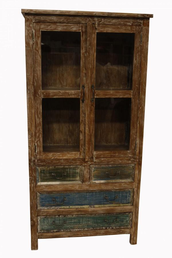 WOODEN 4 DRWS GLASS CABINET