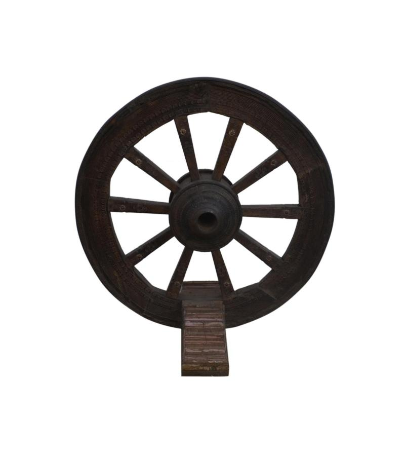 WOODEN WHEEL ON STAND