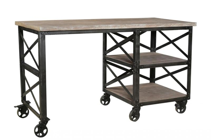 IRON WD. 2 SHELF WRITING TABLE WITH WHEEL