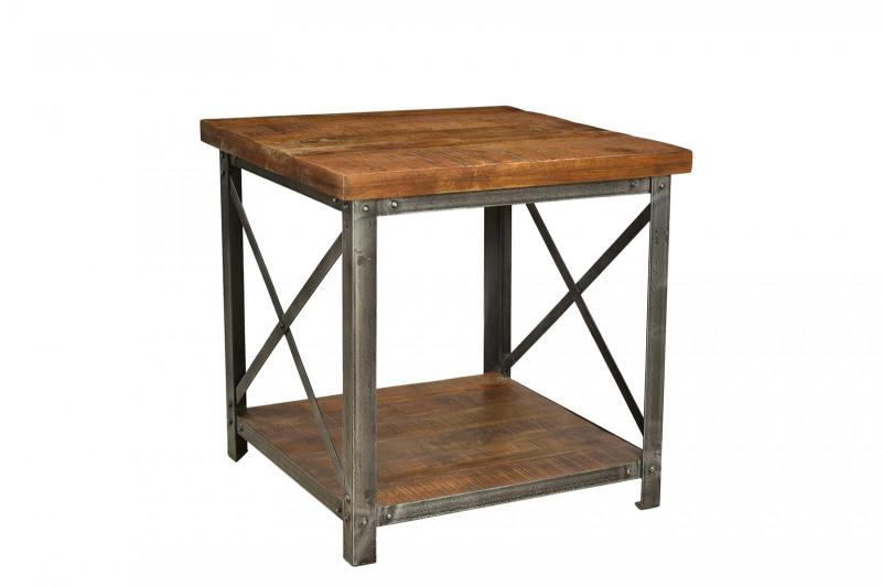 IRON WD. TOP SIDE TABLE