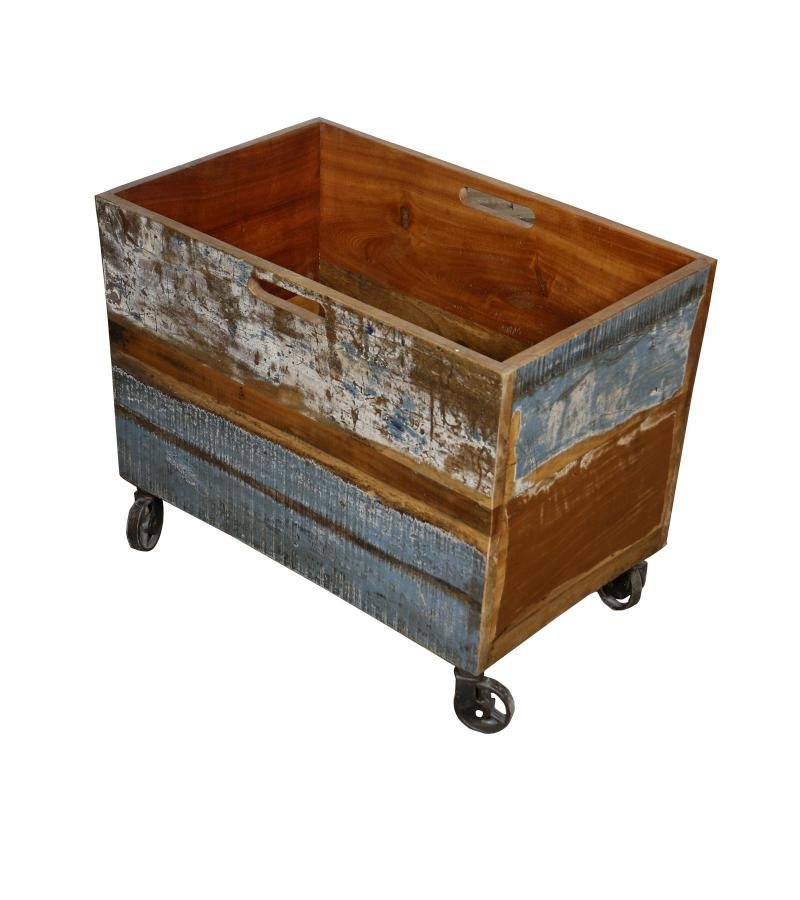 WOOD IRON TRAY TROLLEY