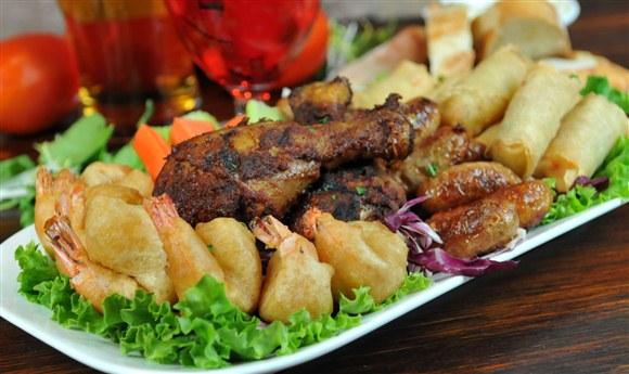 Blackened Cajun Spicy Chicken Drumsticks, Beer Battered Shrimp, Homemade Irish Sausages, Vegetable S - P.J. O'Brien