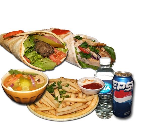 1 Shawarma and 1 Kabab Combo - Wrap and Grab