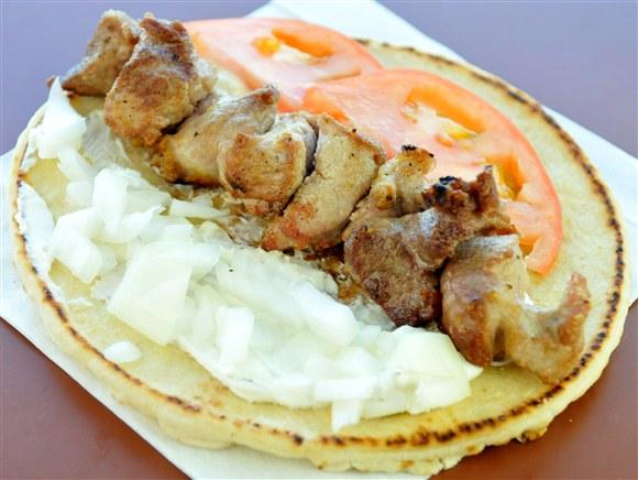 Pork Souvlaki on a Pita - The Prime Burger