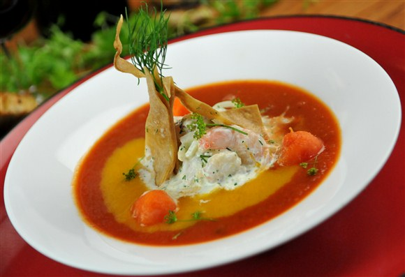 Smoky gazpacho with butterfly shrimp - Lee Restaurant