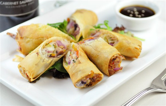 Duck Confit Fried Spring Rolls Recipe — Dishmaps