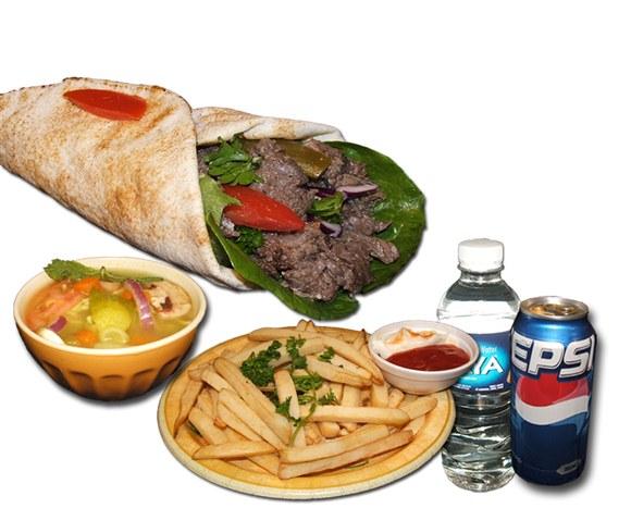 Beef Shawarma Sandwich Combo - Wrap and Grab