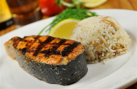Grilled Alantic Salmon Steak - Barberian's Steakhouse