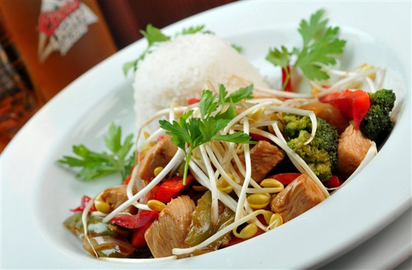 Thai Chicken Stirfry on Rice - Fox and Fiddle