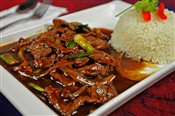 Beef w/ Black Pepper Sauce On Rice   $6.88