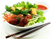 BBQ Pork Meatball & Spring Rolls in Rice Vermicelli Bowl   $5.75