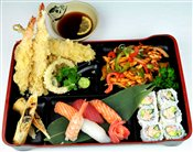 Spicy Chicken,Tempura, 5 pcs Sushi, California Roll   $20.95
