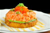 Crispy Rice Cake + Spicy Salmon (Sushi Pizza)