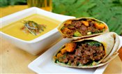 Curry Beef Wrap & Corn Chowder