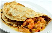 Shrimp Crepes with Grilled Mushrooms   $na