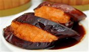 Fried Egg Plant with Stuffed Shrimp Paste in Soy Sauce