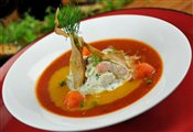 Smoky gazpacho with butterfly shrimp