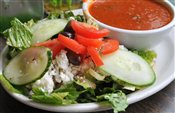 Greek Salad with Tomato Soup