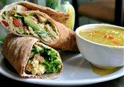 Egg & Avocado Wrap with Rice Soup