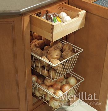Base Vegetable Bins with Deluxe Roll-out Tray