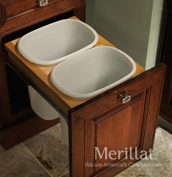 Base Vanity Linen Cabinet Top Mount Wastebasket - Double