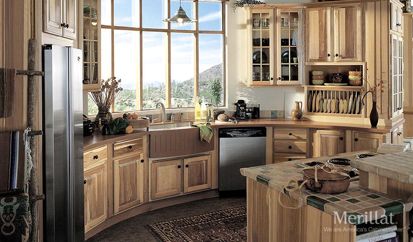 merillat classic sutton cliffs in hickory natural - Merillat Classic Kitchen Cabinets