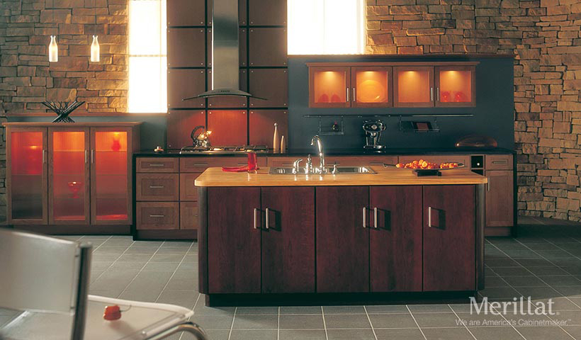 Merillat masterpiece martel in cherry honey spice merillat for Merillat kitchen cabinets