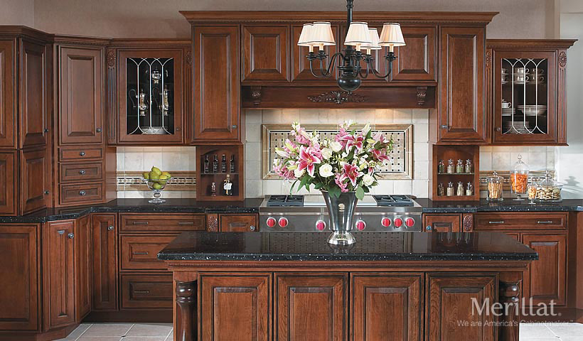 merillat masterpiece caliseo in cherry chocolate with ebony glaze 1 - Merillat Classic Kitchen Cabinets
