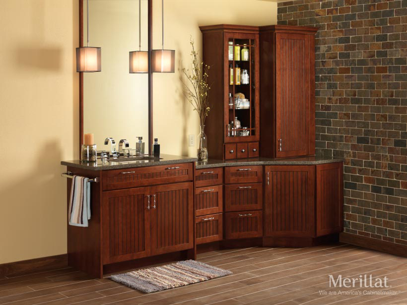 Merillat classic avenue w 5 piece drawer in cherry for Merillat cabinets