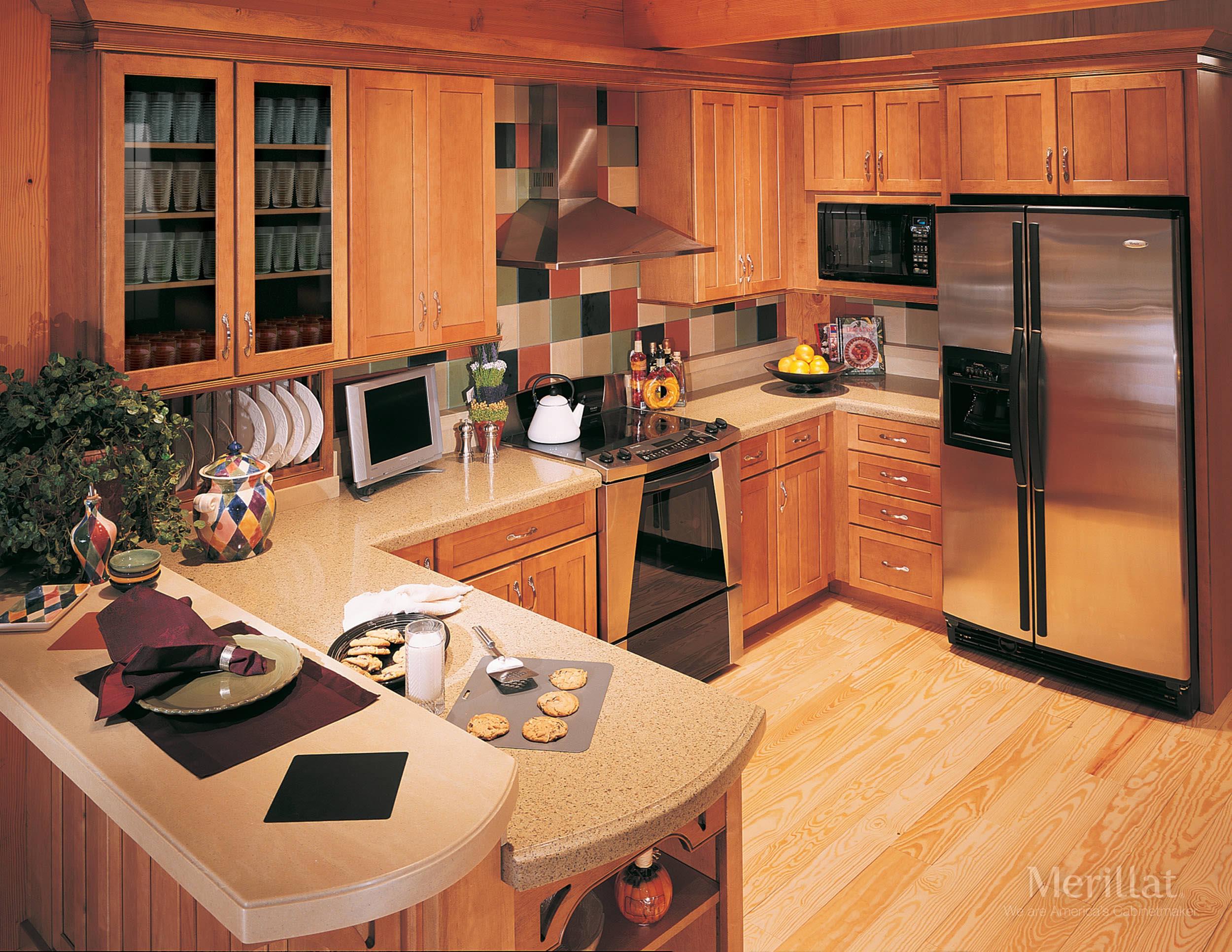 Merillat Kitchen Cabinets Merillat Masterpiecer Landis In Maple Ginger With Sable Glaze