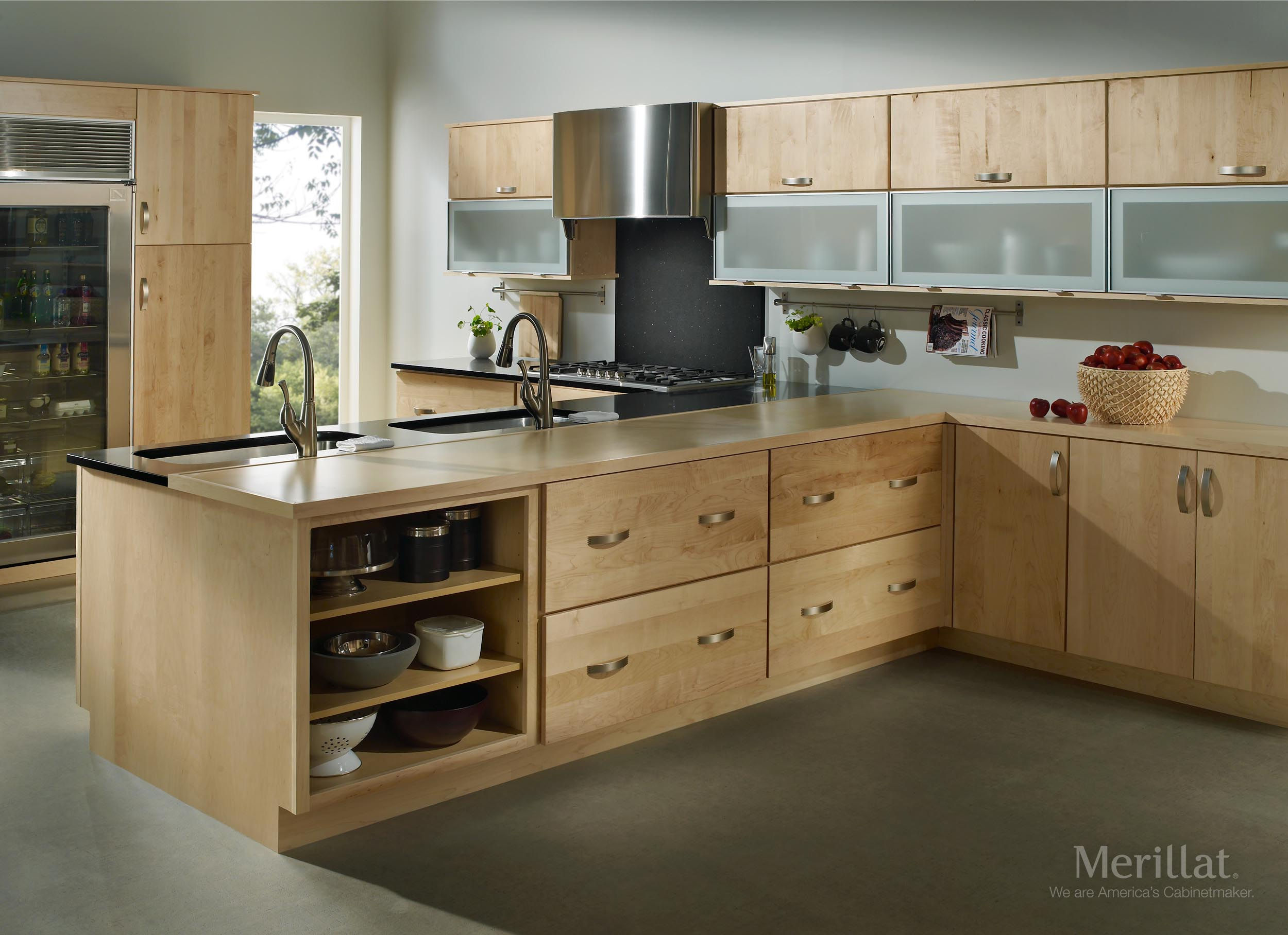 Merillat masterpiece epic in maple natura for Wooden kitchen cupboards